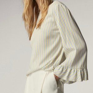 Massimo Dutti Bell Sleeve V-Back Striped Top